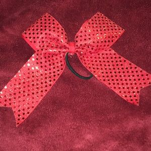 Other - Red bow ponytail. For pom, dance or cheer